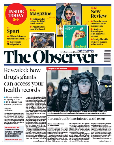 The Observer Newspaper Front Page (UK) for 9 February 2020