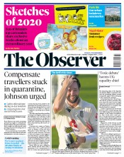 The Observer front page for 9 August 2020