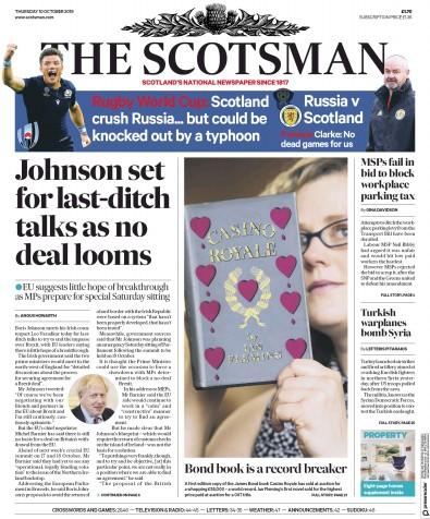 The Scotsman Newspaper Front Page (UK) for 10 October 2019