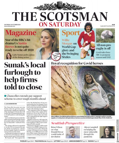 The Scotsman Newspaper Front Page (UK) for 10 October 2020