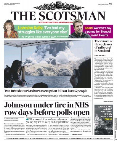 The Scotsman Newspaper Front Page (UK) for 10 December 2019
