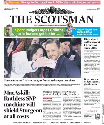 The Scotsman Newspaper Front Page (UK) for 10 January 2019