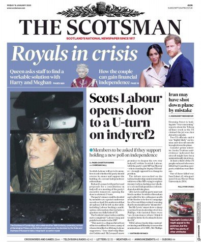The Scotsman Newspaper Front Page (UK) for 10 January 2020