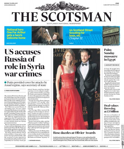 The Scotsman Newspaper Front Page (UK) for 10 April 2017