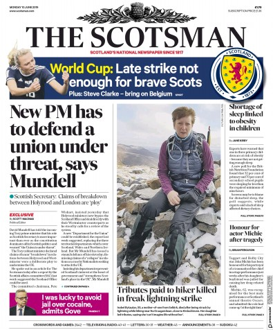 The Scotsman Newspaper Front Page (UK) for 10 June 2019