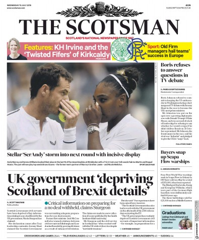 The Scotsman Newspaper Front Page (UK) for 10 July 2019