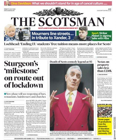 The Scotsman Newspaper Front Page (UK) for 10 July 2020