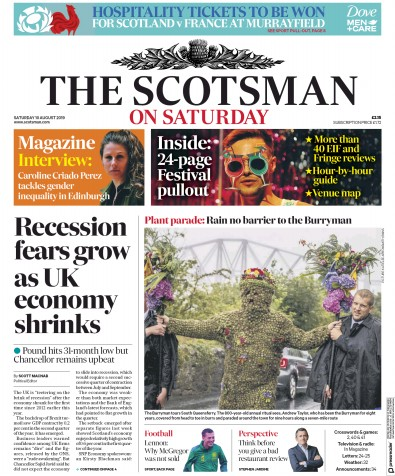 The Scotsman Newspaper Front Page (UK) for 10 August 2019