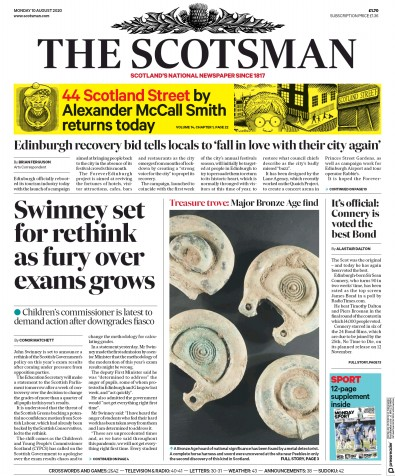 The Scotsman Newspaper Front Page (UK) for 10 August 2020