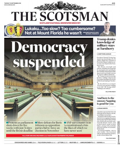 The Scotsman Newspaper Front Page (UK) for 10 September 2019
