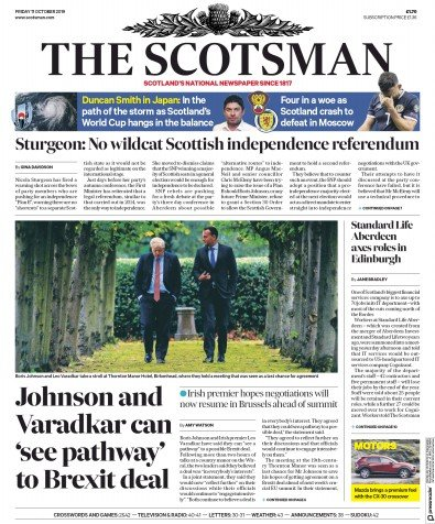 The Scotsman Newspaper Front Page (UK) for 11 October 2019