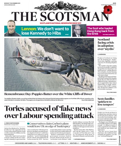 The Scotsman Newspaper Front Page (UK) for 11 November 2019