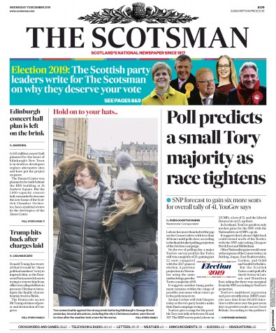 The Scotsman Newspaper Front Page (UK) for 11 December 2019