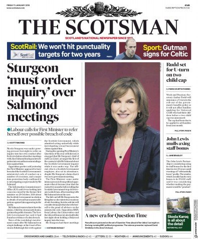 The Scotsman Newspaper Front Page (UK) for 11 January 2019