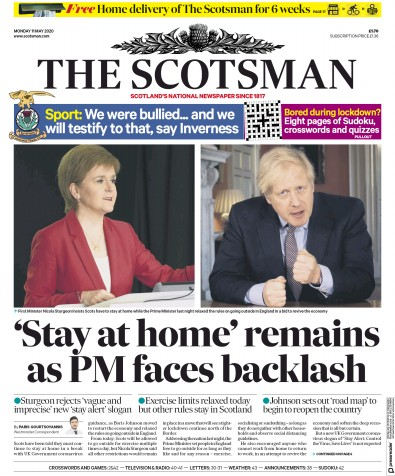 The Scotsman Newspaper Front Page (UK) for 11 May 2020