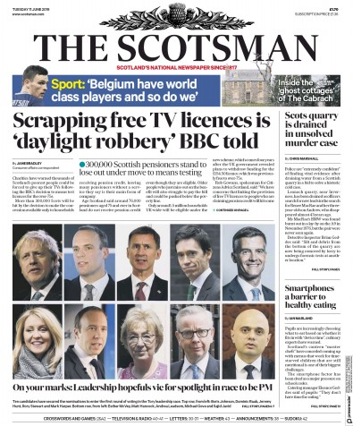 The Scotsman Newspaper Front Page (UK) for 11 June 2019