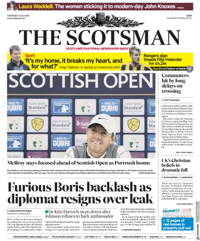 The Scotsman Newspaper Front Page (UK) for 11 July 2019