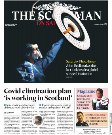 The Scotsman Newspaper Front Page (UK) for 11 July 2020