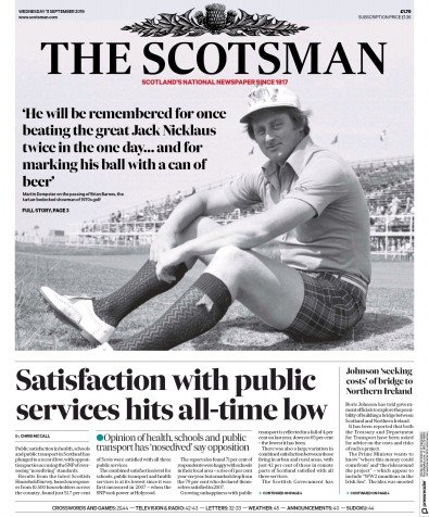 The Scotsman Newspaper Front Page (UK) for 11 September 2019