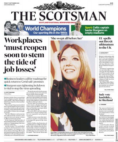 The Scotsman Newspaper Front Page (UK) for 11 September 2020