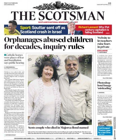 The Scotsman Newspaper Front Page (UK) for 12 October 2018