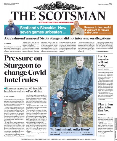 The Scotsman Newspaper Front Page (UK) for 12 October 2020