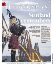The Scotsman (UK) Newspaper Front Page for 12 November 2018