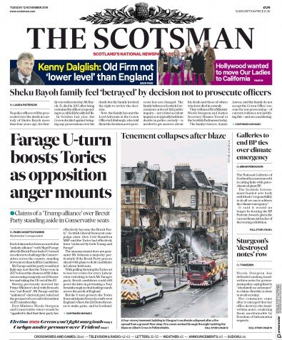 The Scotsman Newspaper Front Page (UK) for 12 November 2019