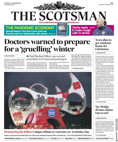 The Scotsman Newspaper Front Page (UK) for 12 November 2020