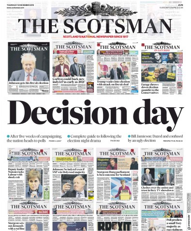 The Scotsman Newspaper Front Page (UK) for 12 December 2019