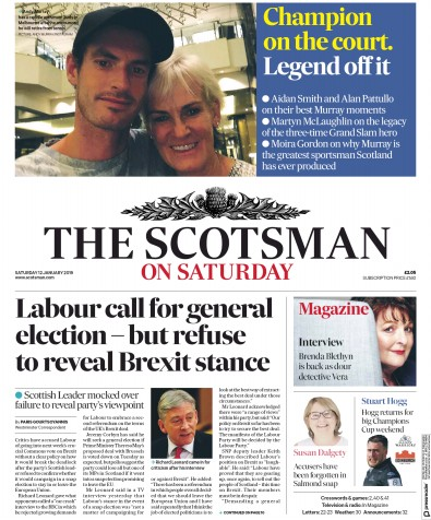 The Scotsman Newspaper Front Page (UK) for 12 January 2019
