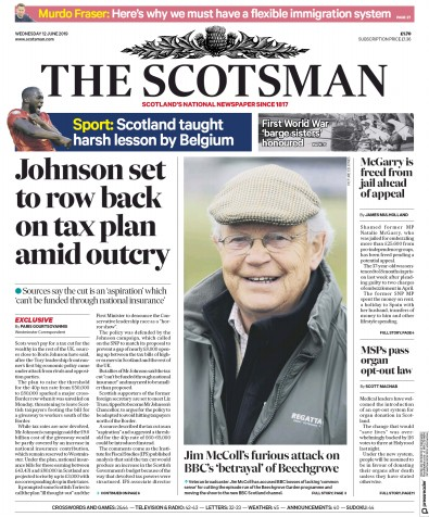 The Scotsman Newspaper Front Page (UK) for 12 June 2019