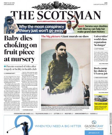 The Scotsman Newspaper Front Page (UK) for 12 July 2019