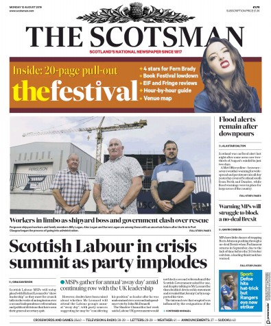 The Scotsman Newspaper Front Page (UK) for 12 August 2019