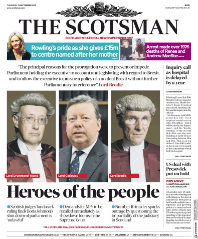 The Scotsman Newspaper Front Page (UK) for 12 September 2019