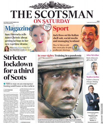 The Scotsman Newspaper Front Page (UK) for 12 September 2020