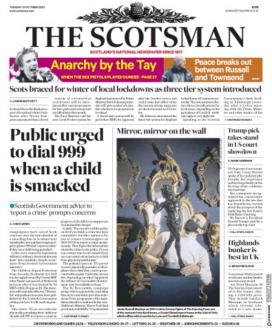 The Scotsman Newspaper Front Page (UK) for 13 October 2020