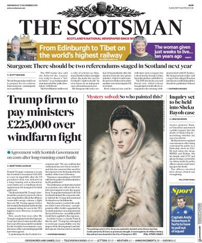 The Scotsman Newspaper Front Page (UK) for 13 November 2019
