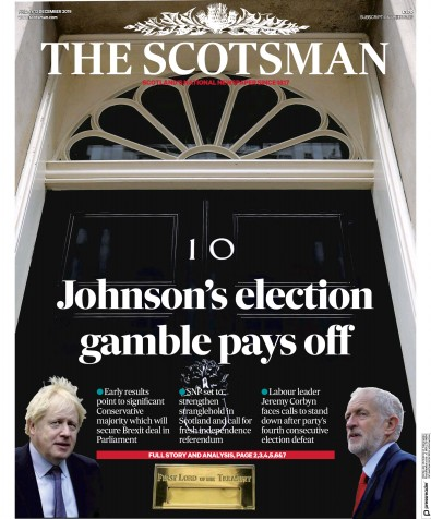 The Scotsman Newspaper Front Page (UK) for 13 December 2019
