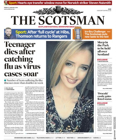 The Scotsman Newspaper Front Page (UK) for 13 January 2018