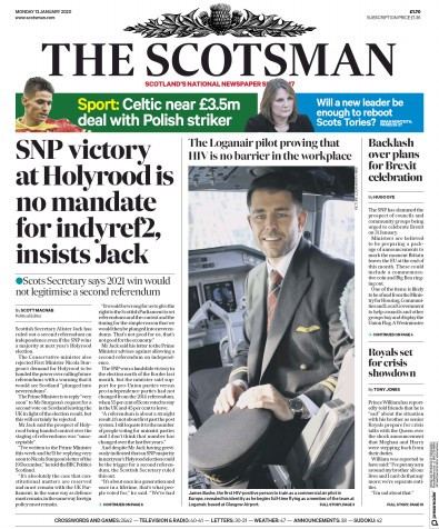The Scotsman Newspaper Front Page (UK) for 13 January 2020