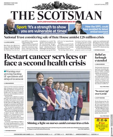 The Scotsman Newspaper Front Page (UK) for 13 May 2020