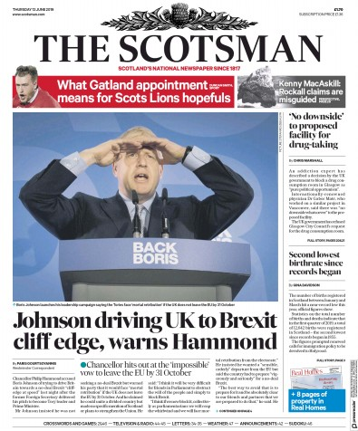 The Scotsman Newspaper Front Page (UK) for 13 June 2019