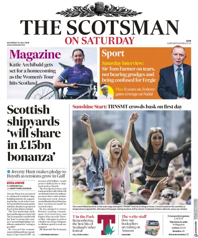 The Scotsman Newspaper Front Page (UK) for 13 July 2019