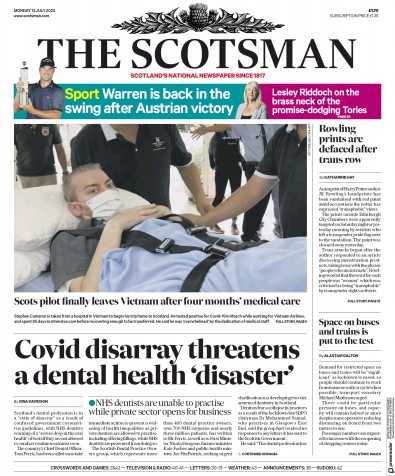 The Scotsman Newspaper Front Page (UK) for 13 July 2020