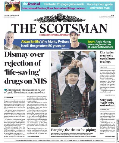 The Scotsman Newspaper Front Page (UK) for 13 August 2019