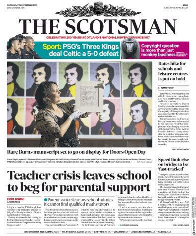The Scotsman Newspaper Front Page (UK) for 13 September 2017