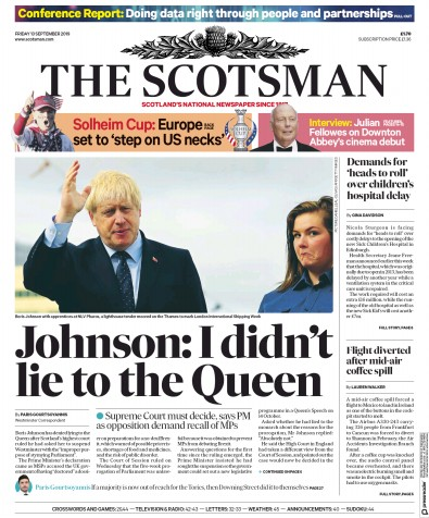 The Scotsman Newspaper Front Page (UK) for 13 September 2019