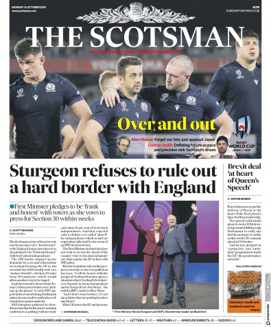 The Scotsman Newspaper Front Page (UK) for 14 October 2019