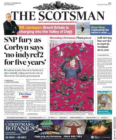 The Scotsman Newspaper Front Page (UK) for 14 November 2019